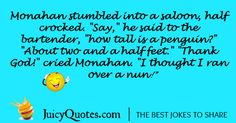 Funny alcohol jokes and drinking jokes. Perfect for a funny night out. Will make you and your friends laugh. Also check our thousands of other jokes. - Page 2 Alcohol Jokes, Funny Alcohol, A Funny, Funny Jokes, Drinking Jokes, Friends Laughing, Good Jokes, Thank God, Bartender