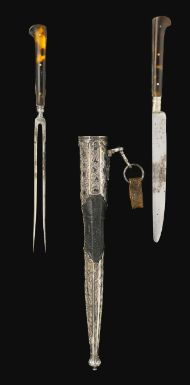 A nielloed silver knife and fork set (trousse) inscribed to Huffenberg, Ottoman Turkey, circa 1700-20