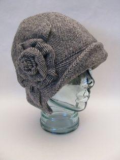 STINA Cloche in Herringbone Wool One of a Kind Black & White Winter Hat Flower XLARGE
