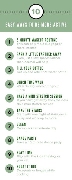 Moving more is good for you. Save this list for when you need more idea for how to be more active. #active #healthyliving #abetteryou #moveit #exercise  via @feistylifemedia