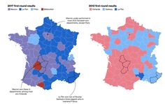 Macron and Le Pen are looking at two different versions of France for their support Macron Le Pen, Election Map, French Elections, European Integration, Emmanuel Macron, First Round, Battle, France, Shapes