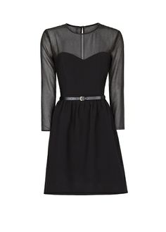 MANGO - Sheer panel belted dress