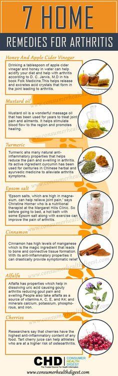 """ Arthritis is a degenerative joint disease that can cause severe debilitating symptoms. Here are 7 home remedies to try for the inflammation and joint pain associated with arthritis. "" *** Subscribe via email for more FREE healthful tips, recipes, and home remedies *** Enter your email address: Delivered by FeedBurner"