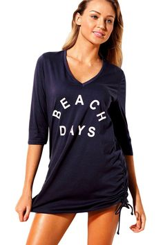 6e667c28c7ea5 Mode Navy Ruched Tie Side V Neck Beach Cover Up ChicLike.com Beach Covers