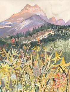 Landscape painting by Michelle Morin Art Inspo, Painting Inspiration, Gouache Painting, Painting & Drawing, Frida Art, Drawn Art, Art Et Illustration, Watercolour Illustration, Photocollage