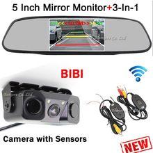 3 σε 1 αισθητήρες στάθμευσης Ασύρματη αυτοκίνητο κάμερα οπισθοπορείας Αντίστροφη + 5 ιντσών Mirror Monitor Ψηφιακή οθόνη LCD οθόνη Parking System (Κίνα (ηπειρωτική χώρα))