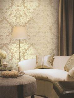 Ideas gold wallpaper living room for 2019 Living Room Wallpaper Neutral, Living Room Paint, Living Room Grey, Living Room Decor, Damask Wallpaper, Home Wallpaper, Bedroom Wallpaper, Closet Wallpaper, Wallpaper Ideas