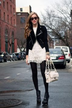 how to wear a white lace dress when the weather gets chilly
