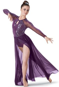 "Purple Key-Hole Sequined Leotard with Mesh and Sequin Sleeves and Cut-Out Maxi Skirt - ""Stolen Dance"""