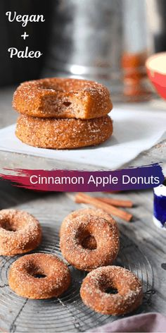 Soft and delicious baked vegan/paleo apple donuts! Perfect for fall mornings. Donut Recipes, Dessert Recipes, Cooking Recipes, Fall Breakfast, Vegan Pumpkin, How To Eat Paleo, Gluten Free Baking, Fall Desserts, Cinnamon Apples