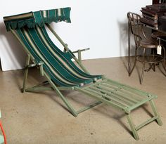 Pair Of 1940u0027s Cabana Chairs With Canopy