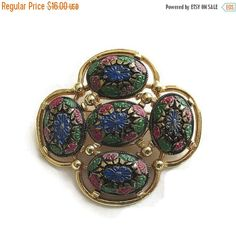 """❘❘❙❙❚❚ ON SALE ❚❚❙❙❘❘   This is a very pretty Vintage Blue, Green, Red & Gold """"Light of the East"""" Brooch or Pin, signed Sarah COVENTRY!  This piece measures over 1 3/4"""" h... #teamlove #ecochic #vogueteam"""
