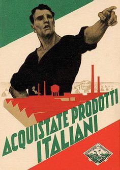 Affiche encourageant les Italiens à acheter national sous l'Italie fasciste de Mussolini (vers 1930).