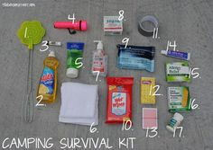 "Everyone needs a ""Go-To"" kit when camping.  Here's a suggestion for contents.  Don't forget to get the unscented products."