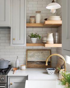 Villerville Beach – McGee & Co. Villerville Beach – McGee & Co. Pin: 766 x 960 Kitchen Shelves, Kitchen Backsplash, Kitchen Cabinets, Open Shelves, Kitchen Fixtures, Kitchen Storage, Kitchen Counters, Backsplash Design, Kitchen Appliances