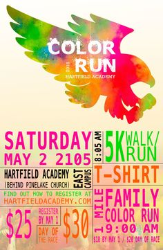 Poster Design for Color Run Charity - Nuzu Net Media Flyer Layout, Poster Layout, Color Run Shirts, 5k Color Run, Free Flyer Templates, Brochure Template, Charity Run, Runes, Temples