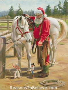 """Horse Play  -  canvas giclee print--This Santa Claus print uses the giclee printing process (fade resistant archival inks and special printers) to allow our prints to look as close to Tom Brownings original oil painting as possible. The canvas print is then stretched and mounted to an archival quality board, 1/4 inch thick, and measures 11"""" X 14""""."""