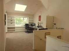 Office area with built in shelving