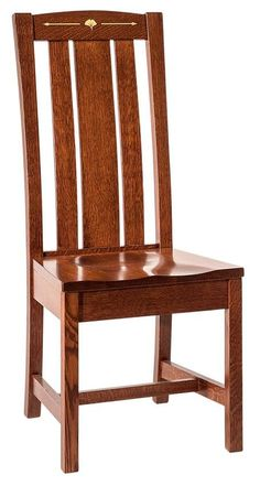 Amish Mesa Mission Dining Chair Beautiful mission style is highlighted with delicate inlays in the crown of each chair.