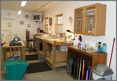 A neat & tidy stained glass studio space. Perhaps a bit dated/clinical, but definitely practical.