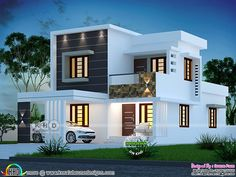 1580 sqft 4 bedroom modern house plan is part of Kerala house design - 4 bedroom flat roof modern style beautiful house plan in an area of 1580 square feet by Dream Form from Kerala