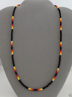 Black Beaded Mens, Womens Necklace ~ Native American Made ~ Many Sizes~Free Ship