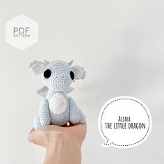 "Excited to share this item from my #etsy shop: AMIGURUMI PATTERN/ tutorial (English) Amigurumi Dragon - ""Alina the Little Dragon"" pdf - US terminology Double Crochet, Single Crochet, Yarn Dolls, Crochet Abbreviations, Little Dragon, Types Of Yarn, Toy Sale, Yarn Needle, Jelly Beans"