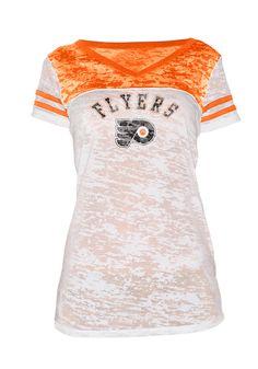Philadelphia Flyers Women's White and Orange Burnout T-Shirt by GIII $29.99 www.rallyhouse.com