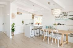 Interior designer Kate Cooper's savvy renovation has reimagined this Sunshine Beach home as a contemporary Airbnb haven. Ideas Decoracion Salon, Engineered Timber Flooring, Exposed Rafters, Beach Bungalows, Coastal Homes, Coastal Interior, Coastal Decor, Modern Coastal, House And Home Magazine