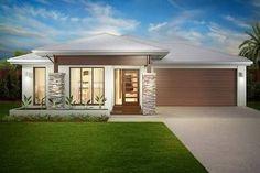 Ideas for house facade single story modern Craftsman House Plans, Modern House Plans, House Front Design, Modern House Design, Henley Homes, Facade House, House Facades, Modern Architecture House, Facade Design