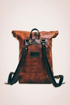 Tộc Leather 78 - Leather Roll Top Backpack / Rucksack (Medium Brown) - Vintage Retro Looking Handcrafted by Tộc Leather [. Roll Top Backpack, Rucksack Backpack, Leather Backpack, Leather Wallet, Leather Roll, Top Backpacks, Back Bag, Leather Bags Handmade, Leather Projects