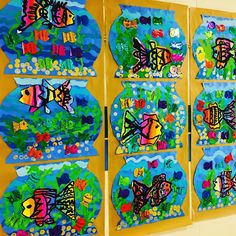 grade rainbow fish on display love them so much rainbowfish rainbow painting firstgrade arted… Rainbow Fish Activities, Rainbow Fish Crafts, Rainbow Art, First Grade Art, 4th Grade Art, 1st Grade Crafts, Kindergarten Art Lessons, Art Lessons Elementary, Arte Elemental