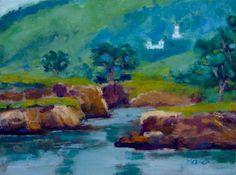 Original Oil Painting - Carmel by the Sea - Carmelite Monastery - Nunnery - Convent - by Honeyscolors