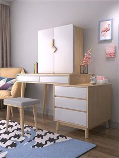 Dressing Table Makeup Desk Video - The Effective Pictures We Offer You About diy A quality picture can tell you many things. Room Ideas Bedroom, Small Room Bedroom, Home Decor Bedroom, Desk In Bedroom, Desk For Girls Room, Ikea Room Ideas, Diy Bedroom Decor For Teens, Small Room Desk, Teenage Room Decor