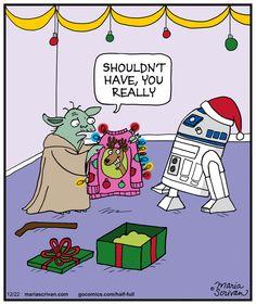 #Yoda is not impressed. | Read Half Full #comics @ www.gocomics.com/half-full/2014/12/22?utm_source=pinterest&utm_medium=SocialMarketing&utm_campaign=social_post_pin | #GoComics #webcomic #TackySweater #gift