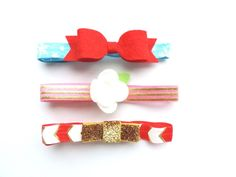 This listing is for 3 gorgeous headbands perfect for this holiday season!Gracie Lou Boutique headbands are made with soft elastics to fit gently on your little ones head. Each headband is handmade with love and grace and will ship within 3 weeks. Colors may vary slightly than what appears on screen.See Photo for size chart.