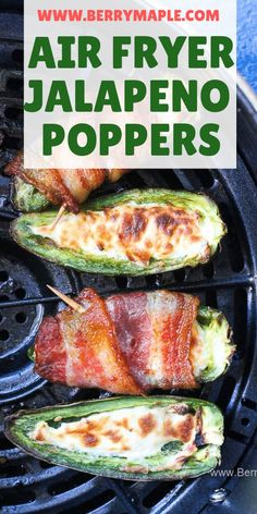 This easy air fryer jalapeno poppers recipe stuffed with cream cheese and wrapp. - This easy air fryer jalapeno poppers recipe stuffed with cream cheese and wrapped in bacon is keto - Air Fryer Recipes Potatoes, Air Fryer Dinner Recipes, Air Fryer Oven Recipes, Appetizer Recipes, Low Carb Appetizers, Dessert Recipes, Air Fryer Recipes Chicken Wings, Air Fryer Recipes Vegetables, Breakfast Recipes