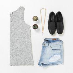Costes Fashion Look, Slip ons, Denim short