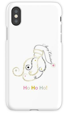 Typographic Christmas Santa on iPhone Skin by Dominiquevari for Redbubble    #Christmasgift #Christmasdecor #Christmas #tech #techaccessories #iphone #iphonecase #Santa #Santaclaus #typography #minimal #white #goldaccents #Dominiquevari #redbubblestickers