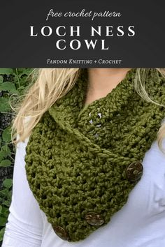 Loch Ness Cowl – Free Crochet Pattern Always aspired to figure out how to knit, yet undecided the place to begin? This kind of Utter Beginner Knitting Line is. One Skein Crochet, Crochet Cowl Free Pattern, Crochet Neck Warmer, Crochet Scarves, Single Crochet, Crochet Stitches, Free Crochet, Knitting Patterns, Crochet Cowls