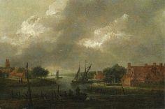 Aert van der Neer - Gezicht op de Schelde bij nacht
