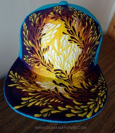 Fitted hat, Hand painted hat, trippy hat, festival hat, floral pattern, size 7 by dOmaniaPower on Etsy