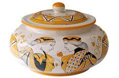 Orange Cookie Jar with Paggio & Dama, Ceramiche Fusari - Orvieto