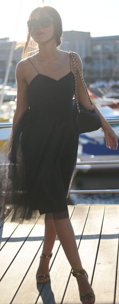 Alexandra Grecco Black Tulle Skirt Midi Cami Dress by The Fashion Through My Eyes