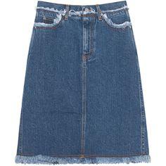 ACNE STUDIOS Gisella Blue // Flared denim skirt featuring polyvore, women's fashion, clothing, skirts, bottoms, denim flare skirt, blue knee length skirt, acne studios, fringe skirt and flare skirt