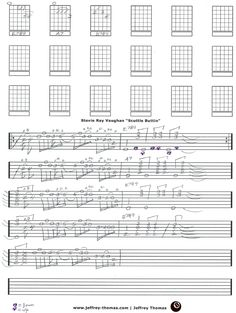 """On The Workbench: """"Scuttle Buttin"""" by Stevie Ray Vaughan.  I am following the studio take on this.  I noticed on alot of his live versions he does not use a B7#9 just a straight B7.  Have fun with this!  More free guitar, bass and ukulele tab at: www.jeffrey-thomas.com"""