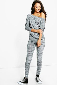 Tall Vivie Slash Neck And Legging Loungewear Set