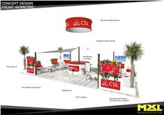 Ocean beach vibes exhibition stand, corporate branding included, tropical plants and high level rigged signage. Design by MxL ltd, get in contact today for your free design proposal.