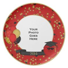 Commemorative Plate Graduation 2014 Smiley RED #zazzle #graduation #plate #red #smiley #confetti #balloons #partyplate
