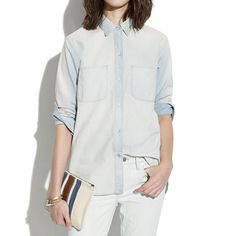 Madewell - Perfect Chambray Ex-Boyfriend Shirt in Ferrous Wash: Great oversized shirt for lazy days